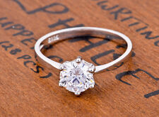 4.0 CT. Brilliant Round Cut 6MM CZ 925 Sterling Silver Wedding Engagement Ring