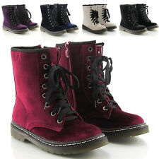 WOMENS LACE UP LADIES VELVET VINTAGE RETRO COMBAT GOTH PUNK ANKLE BOOTS SHOES