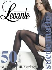 Levante Suede Matte Opaque Stockings, Soft Black Opaque Stockings, 50 Denier