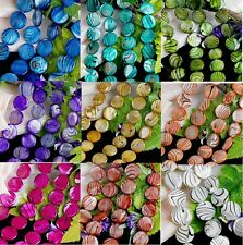 20mm MOP Shell Zebra Stripe Coin Faced Round Loose Beads Jewelry Makings DIY