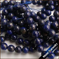 6mm / 8mm Natural round gemstone genuine lapis lazuli loose beads strand 15""