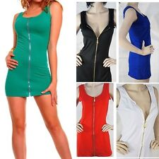 Sexy Color Clubbing Dress Zipper Front Tank Party Ball Cocktail Clubwear 5 Color