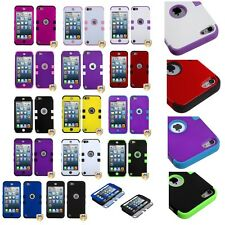 Purple Green Black White Hard & Soft Rubber Hybrid Case For iPod Touch 5th Gen