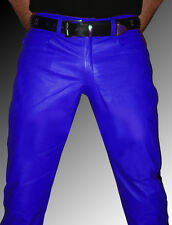 blue leather pants black stripes Police pants leather uniform LEATHER LINING