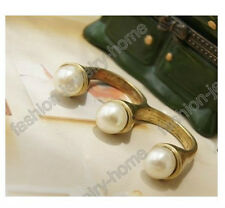 Fashion Pretty Vintage Bronze Style 3pcs Pearl two Finger Ring 6 resize