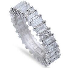 2.5CT EMERALD CUT CZ ETERNITY WEDDING BAND .925 Sterling Silver Ring SIZES 5-10
