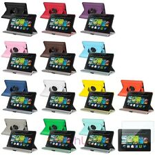 """360 Swivel Leather Case+Clear Screen Protector For Amazon Kindle Fire HD 7"""" 2013"""