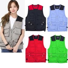 Mens Sleeveless Utility Multi Pocket Zip Hunting Fishing Shooting Climbing Vest