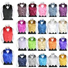 2 pc set 23 color Satin Vest Bow Tie for Kids Teen Children Boy Formal Suit 8-20