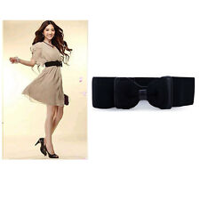 Elegant Women Lady Bowknot Waist Belt Waistband Wide Elastic Stretch Bow Tie
