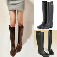 New Women Lady Knee High Flat Rubber Rain Boot Wellington Wellies Mid Calf Shoes