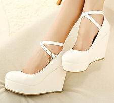 New Fashion Women Platform Pumps Wedge High Heels Ankle Strap Buckle Party Shoes