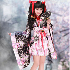 Lolita Kimono Fancy Dress Floral Outfit Japanese Costume Cosplay Maid Waitress