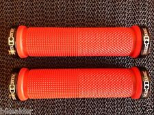 """CRANK CANDY"" Dual Knurl Vice Lock On RED Grip Bike Handle Bar Grips MTB XC DH"