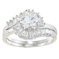 Alyssa Jewels 14k White Gold 3ct TGW Clear Cubic Zirconia Bridal-style Ring Set