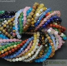 Natural Gemstones 4mm Faceted Round Beads 15'' - 16'' Jasper Quartz Agate Pick