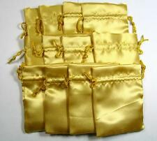 12 PCS OF YELLOW SATIN GIFT POUCH RUNES BAG FOR JEWELRY GEMSTONES DIAMOND GEM