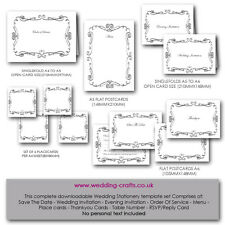 Wedding Invitation Printable Templates: Curly Border Suite Full Package