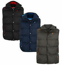 New Kangol Men's Padded Puffer Bodywarmer Jacket Sleeveless Hooded Fleece Gilet