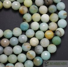 Natural Colorful Amazonite Gemstone Faceted Round Beads 6mm 8mm 10mm 12mm 16''