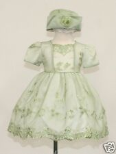 New Baby Girl Toddler Green Sage Dress Wedding Easter Formal Party sz: S M L XL
