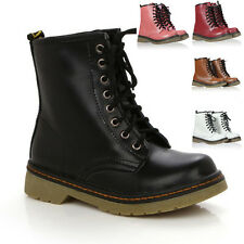 New Cool Women Lady Lace Up Half Martin Combat Flats Shoes Goth Punk Ankle Boots