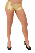 WOMEN'S JUNIORS SEXY GOLD METALLIC SHORT PANTS HIPSTER DANCE CLUB BOOTY SHORTS