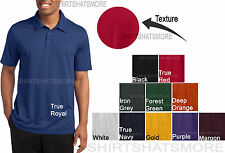 Mens TEXTURED Moisture Wicking Dri Fit Polo Sport Shirt Golf Tennis S-4XL NEW