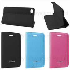 Premium Lishen Leather Flip Back Cover Stand Book Case for Apple iPhone 4/4S