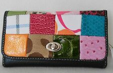 MULTI COLOR PATCHWORK Trifold Wallet REMOVABLE Checkbook Cover & Zippered Pocket