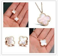 Lucky Girl New Year Gifts clover design Stainless Steel  Shell Necklace earring