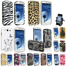 Color Pattern Hard Skin Case+Vent Mount Holder For Samsung Galaxy S3 III I9300