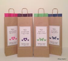 BROWN PERSONALISED PAPER WEDDING FAVOUR PARTY BOTTLE GIFT BAG  Butterfly/Hearts