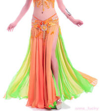 New Belly Dance Costume 2 layers 2 colors  2 side slits skirt/dress 10 colours