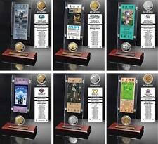 Choose Your NFL Champion Super Bowl Ticket & Game Coin Collection Acrylic Plaque