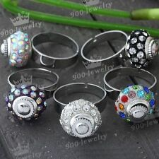 1PC Rhinestone Crystal European Charm Beads Adjustable Cocktail Finger Ring Gift