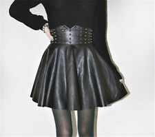 New Women's Black Studs Mini Skirt PU Leather High Waist Sexy Ball Gown Preppy