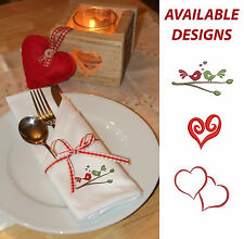 Set of 4, 6 or 8 Embroidered Fabric Napkins,  Valentine's gift idea