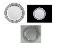 Clear/White w/ Silver/White Lace Border Banquet Wedding Plastic Plates 10ct.