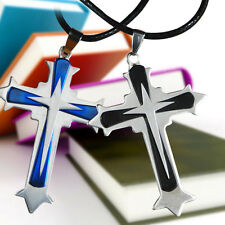 Men's Blue&Black Stainless Steel Cross Chain Pendant Necklace
