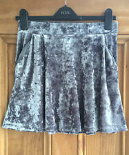 Topshop Petite New Grey Crushed Velvet Mini Party Skirt Uk 4 - 14 Bnwot