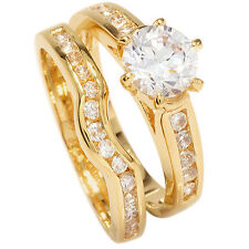 18ct Gold Filled Ladies 2 in 1 Cubic Zirconia Wishbone Wedding /Engagement Ring