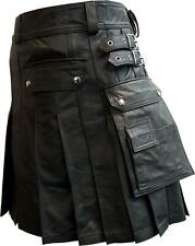 Mens 100% Genuine Leather Pleated Kilt with Two Cargo Pockets Full Length
