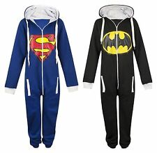 Unisex Superman Batman Print Onesie Mens Womens Hooded Playsuit Jumpsuit 8101214