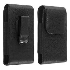 Universal Black Flip Leather Case Cover Skin w/Clip For Cellphone Mobile Phone