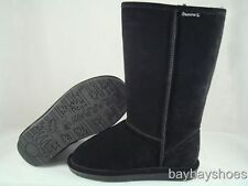 "BEARPAW EMMA 12"" TALL BOOT BLACK SHEEPSKIN SUEDE SNOW WINTER US WOMENS SIZES"