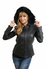 Fitted Biker Leather Jacket Womens Classic Hooded Real Fur Zip Up KATRINA Black