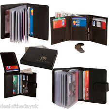 Mens Genuine Real Leather Small Credit Card Wallet Black Brown Holder Business