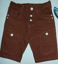 Boys Brown Cargo Style Shorts with Button Fly Closure