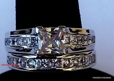 Princess Cut. 925 Sterling Silver Wedding Engagement Set CZ Ring Size 5 6 7 8 9
